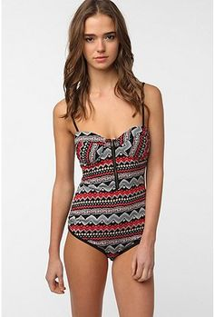 Geometric one piece swimsuits.