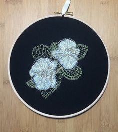 SALE Orchids on lace embroidery hoop art by StitchesOfAnarchy