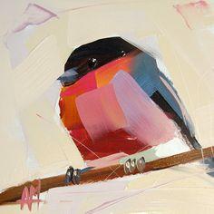 Bullfinch no. 4 original bird oil painting by Angela Moulton prattcreekart