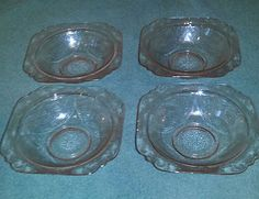 "Vintage Pink Depression Glass Bowls Set of 4 Beautiful Etchings 7"" Wide 