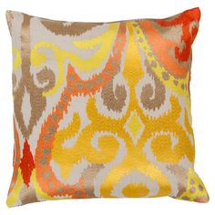 Cotton pillow with a multicolor ikat motif.   Product: PillowConstruction Material: Fabric Color: Golden yellow and poppy redFeatures:  Made in IndiaInsert included  Cleaning and Care: Blot stains immeadiately. Dry clean cover.