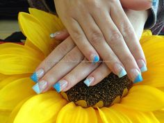 Acrylic nails with blue gelish gel polish