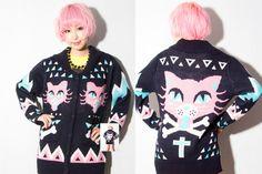 Pastel goth kitty cardigan