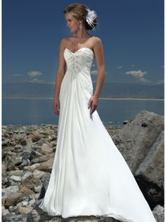 Classic Ivory Beaded Chiffon Beach Destination Wedding Dress