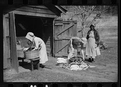 1936: Women washing clothes, Crabtree Recreational Project, near Raleigh, North Carolina