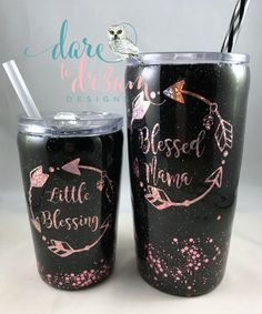Excited to share the latest addition to my shop: Blessed Mama/Little Blessing Glitter Tumbler Set/Black & Rose Gold Glitter/Glitter Yeti Diy Tumblers, Custom Tumblers, Glitter Tumblers, Mom Tumbler, Tumbler Cups, Wine O Clock, Glitter Cups, Gold Glitter, Glitter Bomb