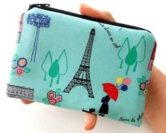 Paris in Spring NEW Little Zipper Pouch Coin Purse  ECO Friendly by JPATPURSES