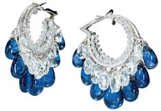 Viren Bhagat. Sapphire & diamond hoop earrings...♡