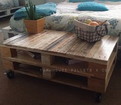 Bare Wood Industrial Pallet Coffee Table Ottoman End Table TV Stand Reclaimed Timber Boho Loft Upcycled