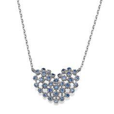 Sterling Silver Jeweled Heart Pendant by JordanRoseJewelry on Etsy