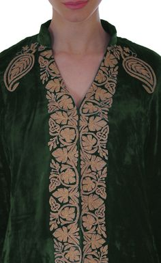 Forest Green Silk-Velvet Jacket With Paisley Gold Tilla Embroidery