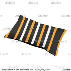 Orange Black White Halloween Stripes Dog Bed