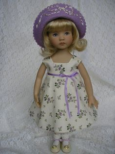 """Dress and hat for 13"""" Dianna Effner Little Darling doll Tomi Jane"""