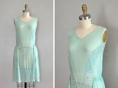 1920s Creme de Menthe dress