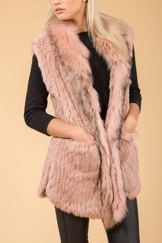 Shop Jayley Pink Fur Gilet   Fur Gilets