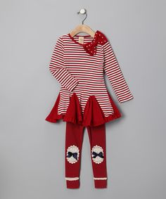 Take a look at this Red & White Stripe Bow Dress & Leggings - Toddler & Girls by Mia Belle Baby on #zulily today!
