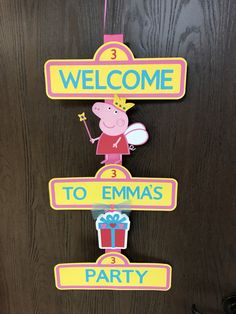 This Peppa Pig Themed 3-tiered Birthday Door Sign is Ready to Ship!!! This bright yellow , pepto-bismol pink, red and teal blue door sign is sure to brighten any childs birthday party. Each yellow sign is 11 wide . The Peppa pig is 7 tall and is shown wearing a birthday crown