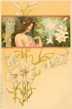 insert showing  bust of satyr looking down from behind girl with exposed breast, white lilies below & above