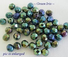 50 Exquisite Green Iris Faceted Glass Beads 6MM #Faceted