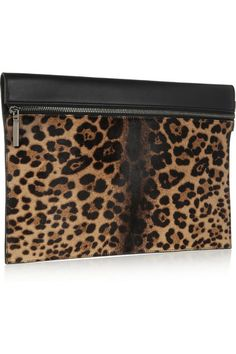 Victoria Beckham | Large leopard-print calf hair and leather clutch
