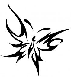 Tribal Butterfly Tattoos | Home / Free Butterfly Tattoo Designs / Butterfly Wavy Tribal Line Top ...