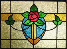 Cottage Rose Stained Glass Window arts and crafts bungalow; Stained Glass Flowers, Stained Glass Designs, Stained Glass Panels, Stained Glass Projects, Stained Glass Patterns, Leaded Glass, Stained Glass Art, Art Nouveau, Glass Mosaic Tiles
