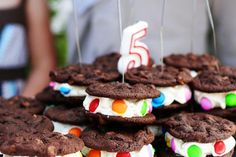 Chocolate-Chocolate Chip Cookie Ice Cream Sandwiches  //  A great birthday party idea!