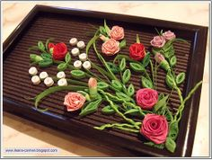 Quilling Picture with Roses. Picture dimensions: (10,5 x 14,5) cm.