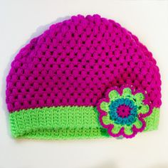 Multi Coloured Crochet Flower & Beanie Tutorial via Hopeful Honey