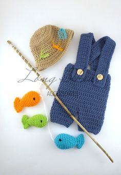 Crochet fisherman outfit. Newborn. Stick is not included in the set. $48