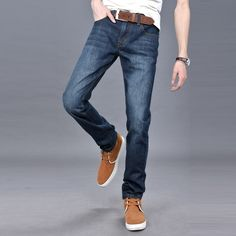 Men's Fall Winter Fashion Straight Retro Casual Washed Jeans - Gchoic.com