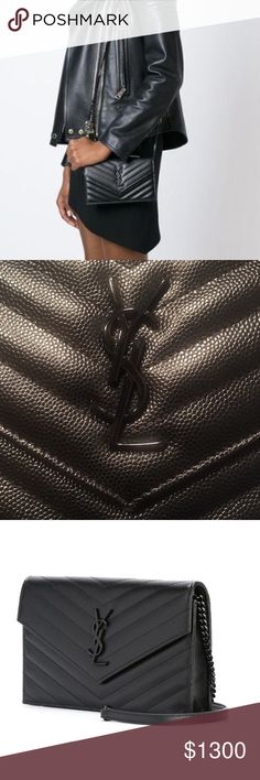 Saint Laurent 'monogram' Shoulder Black calf leather 'Monogram' shoulder bag from Saint Laurent featuring an envelope style, a front flap closure, a front logo plaque, a chain shoulder strap, a quilted effect, multiple interior card slots and an internal zipped pocket. IN PERFECT CONDITION comes with dustbag Saint Laurent Bags Crossbody Bags