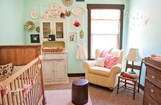 more photos of room inspiration. Could use gpa n gmas old hutch as girl dresser!
