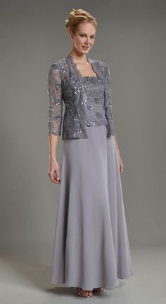 2013 fashion column chiffon floor length mother of the bride with jacket long sleeves formal dresses Mother Of Bride Outfits, Mother Of Groom Dresses, Bride Groom Dress, Bride Gowns, Mothers Dresses, Mother Of The Bride Jackets, Mother Bride, Formal Dresses With Sleeves, Mob Dresses