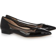 Pour la Victoire Bibi patent-leather and mesh flats (135 CAD) ❤ liked on Polyvore featuring shoes, flats, black, black shoes, patent flats, black flat shoes, slip-on shoes and black slip-on shoes