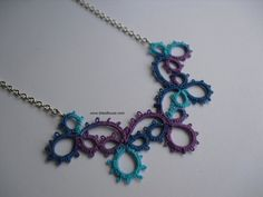 Tatted Necklace  Dark Blue Turquoise Purple by BitsofBruce on Etsy, $28.00