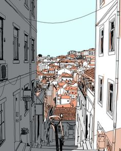 Lisbon City Art Print by krickente - X-Small Architecture Drawing Sketchbooks, Watercolor Architecture, Architecture Art, City Illustration, Landscape Illustration, Art Sketches, Art Drawings, Lisbon City, Watercolor City
