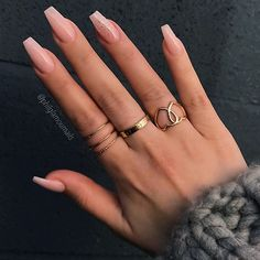 """5,989 Likes, 12 Comments - TheGlitterNail Get inspired! (@theglitternail) on Instagram: """"✨ REPOST - - • - - Classy Nude with Glitter Ombre Accent on long Coffin Nails ✨ - - • - - …"""""""