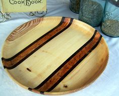 "15 3/4"" HUGE Hand Turned Serving Platter Scarlet Oak with Black Walnut Burl and Fiddleback Maple Accents Bold Stripe Art Deco Pattern LOVELY.  via Etsy."