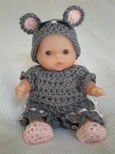 Baby Doll clothes - knitted Bunny Outfit