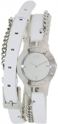 43b7a6f1751 Relógio Armani Exchange White Dial White Leather Ladies Watch AX4146  Armani  Exchange Relógio Relógios