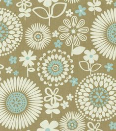Waverly Home Decor Print Fabric Gemma Latte... If I lightened up kitchen wall color to pale aqua...