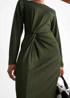 Asymmetric Twist Midi Dress - Dark Green - Midi dresses - & Other Stories GB