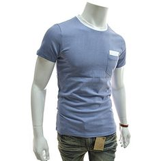 (DH04-SKY) Slim Fit 2 Tone Patched Pocket Round Neck Short Sleeve Tshirts