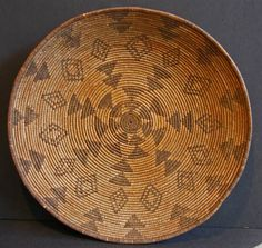 Western Apache Basket from 1870 - 1880.  Grass fiber bundles coiled and sewn with willow and juneus root.