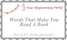 It's Christian Bookshelf Reviews' 3-Year Blogoversary! Enter to win a box of books!! US only.  http://christianbookshelfreviews.blogspot.com/2014/02/3-year-blogoversary-party-words-that.html