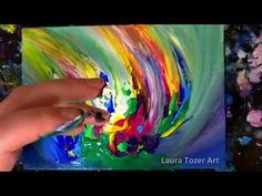 How to create an original colourful abstract painting with only your fingers - YouTube