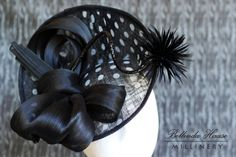 Black sinamay disc hat with white polka dots trimmed with silk abaca loops By  BELLINDA HAASE  #Millinery #hats #HatAcademy