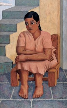 Manuel Rodríguez Lozano   Muchacha sentada , 1929  Óleo sobre tela  160.3 x 100.3   Como en muchas de sus pinturas, Manuel Rodríguez Lozano se valió en esta obra de la contraposición de una figura con una arquitectura específica. En el caso de  Muchacha sentada , se aprecia a una mujer de raza indígena, descalza y con un vestido rosa, que reposa en una silla. Detrás del personaje se reconoce una escalera que lleva hacia un lugar que no es posible descubrir con la mirada. Con este tipo de…