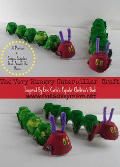 The Very Hungry Caterpillar Upcycled Kids Craft Inspired by Eric Carle's children's book -- 30 Minutes + Simple Supplies From Around The House - Perfect For Spring www.onesavvymom.net